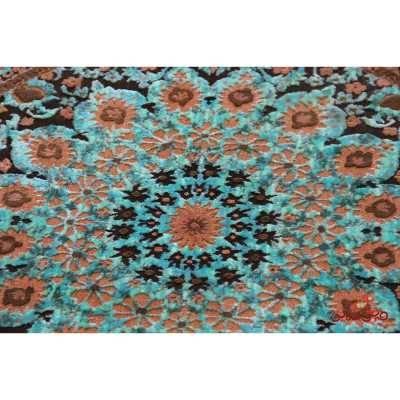 فرش گرد ماشینی عرش طرح برین قهوه ای آبی