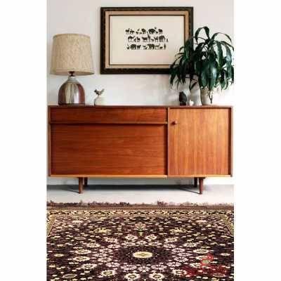 فرش ماشینی عرش طرح برین مشکی بنفش