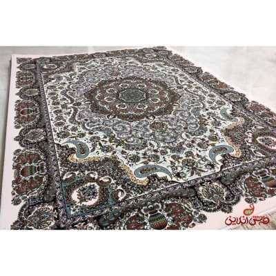 فرش  شاهکار صفویه طرح ترمه مشکی