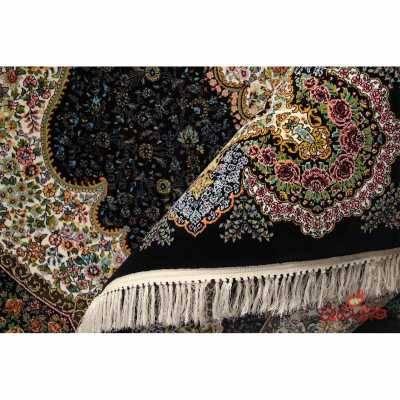 فرش ماشینی کشمیر طرح باران سرمه ای