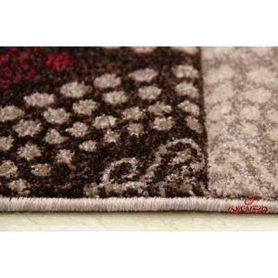 فرش ماشینی  ساوین طرح  گلاره شکلاتی