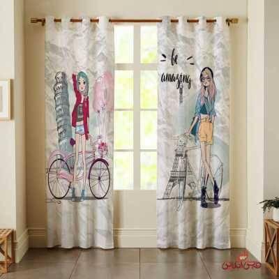 پرده 2عددی کودک طرح دختران دوچرخه سوار کد 2626