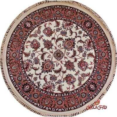 فرش گرد کرامتیان طرح افشان تبریز کرم گلبهی