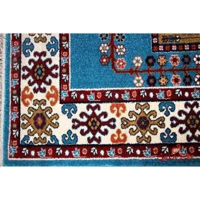 فرش ماشینی  ساوین طرح قشقایی آبی