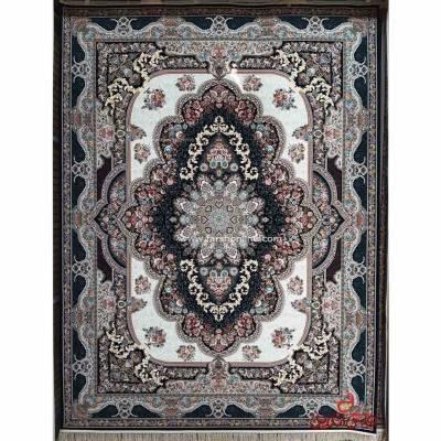 فرش ماشینی برین کاشان طرح بهشت سرمه ای