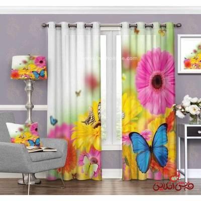 پرده مدرن طرح گل و پروانه کد 3350