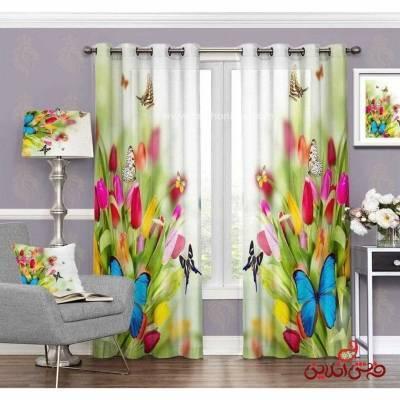 پرده مدرن طرح گل و پروانه کد 3420
