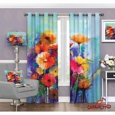 پرده مدرن طرح گل های رنگی کد 3510