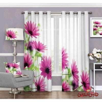 پرده مدرن طرح گل های صورتی کد 3514