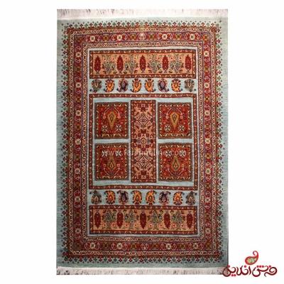فرش دستباف عشایری طرح خشتی آبی