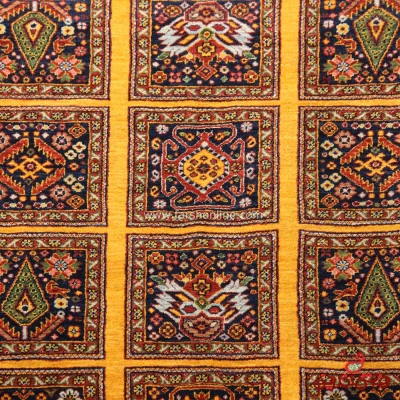 فرش دستباف عشایری طرح خشتی زرد