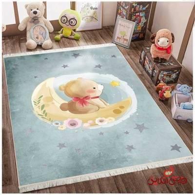 فرش ماشینی کودک کلاریس طرح خرس و ماه کد 100289