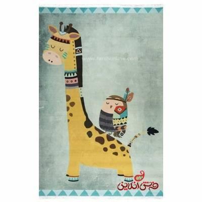 فرش ماشینی کودک کلاریس طرح زرافه کد 100282