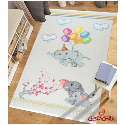 فرش ماشینی کودک کلاریس طرح فیل کد 100254