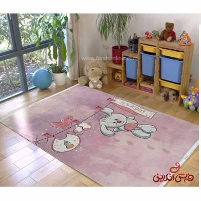 فرش ماشینی کودک کلاریس طرح خرگوش کد 100300
