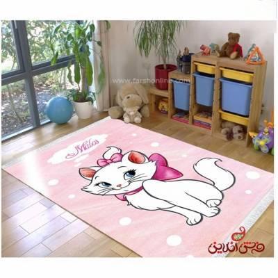 فرش ماشینی کودک کلاریس طرح گربه اشرافی  کد 100292