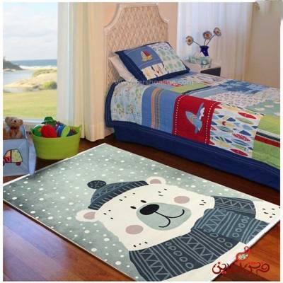 فرش ماشینی کودک کلاریس طرح خرس  کد 100273