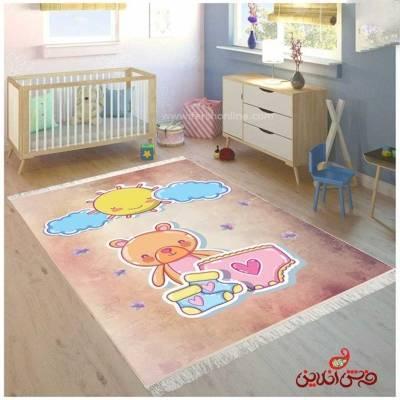 فرش ماشینی کودک کلاریس طرح انیمیشن خرس و خورشید  کد 100310