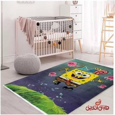 فرش ماشینی کودک کلاریس طرح باب اسفنجی   کد 100316