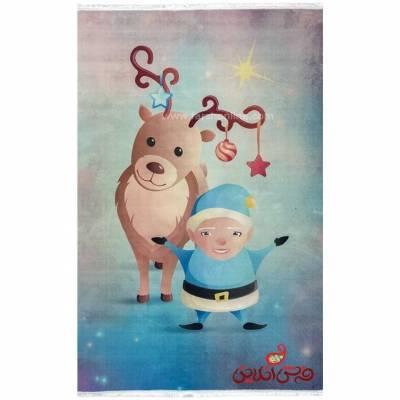 فرش ماشینی کودک کلاریس طرح کریسمس   کد 100281