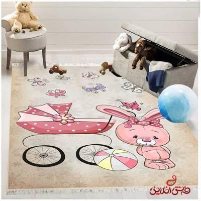 فرش ماشینی کودک کلاریس طرح خرگوش کوچولو  کد 100272