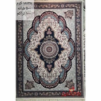 فرش زمرد مشهد طرح 18138 کرم