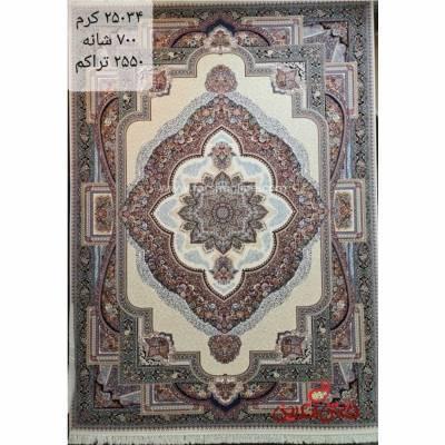 فرش زمرد مشهد طرح 25034 کرم