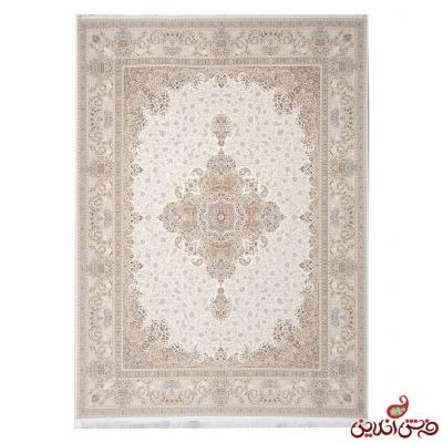 فرش ماشینی خاطره کویر کاشان طرح سارینا کرم سفید