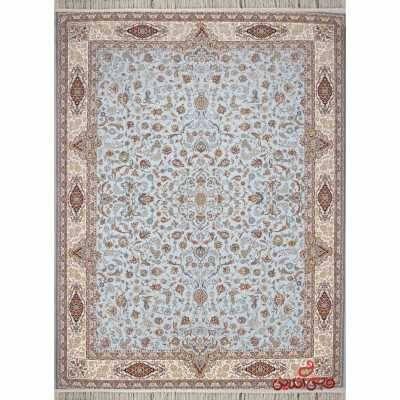 فرش فرحزاد طرح افشان اصفهان آبی الماسی