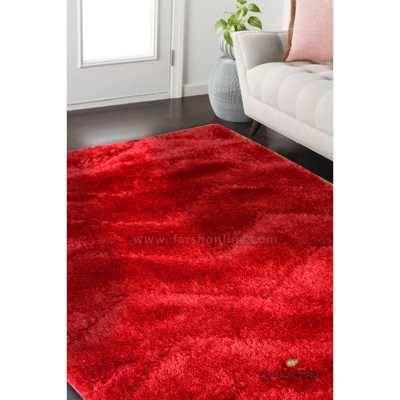 فرش شگی پاتریس طرح زیگزال قرمز