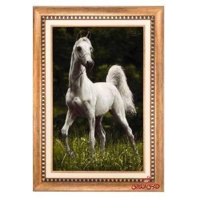 تابلو فرش دستبافت طرح اسب سفید