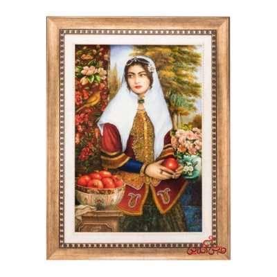 تابلو فرش دستبافت طرح دختر قاجار