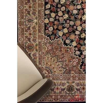 فرش ماشینی عرش طرح رز مشکی